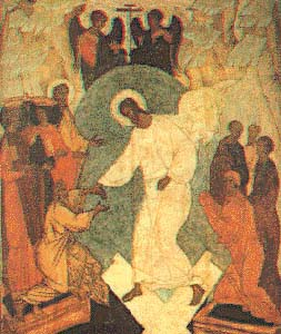 Russian icon of the Resurrection. Christ is pulling Adam and Eve out of the grave.